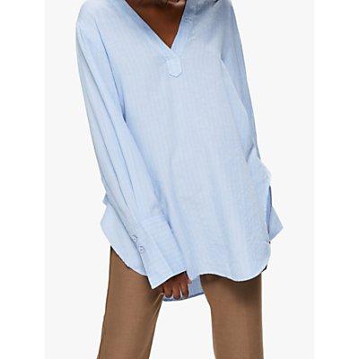Selected Femme Abby Stripe Long Blouse, Brunner Blue