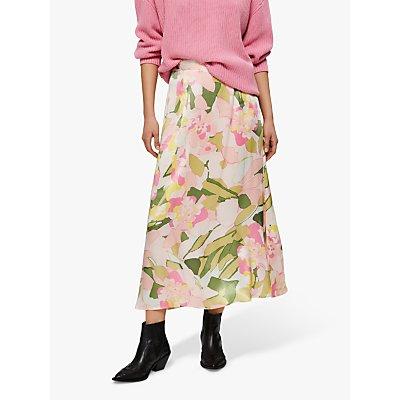 Selected Femme Mola Floral Print Ankle Skirt, Rosebloom