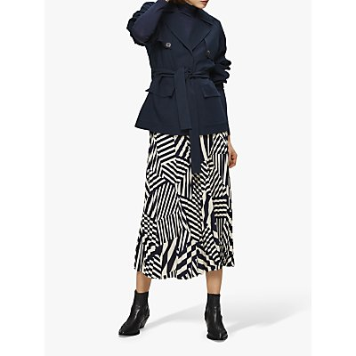 Selected Femme Alexis Geometric Print Midi Skirt, Navy/White