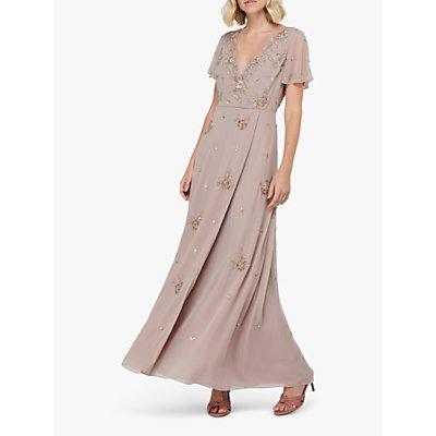 Monsoon Winifred Embellished Wrap Maxi Dress, Mink