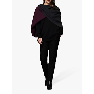 Winser London Reversible Poncho, Charcoal Marl/Berry