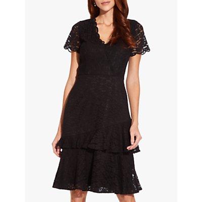Adrianna Papell Felicity Flounce Dress, Black