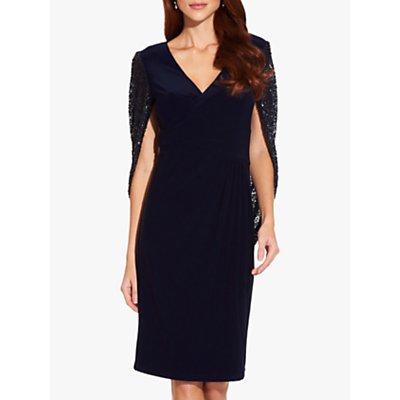 Adrianna Papell Draped Jersey Dress, Midnight