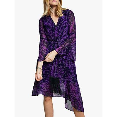 Harpenne Tie Front Midi Dress, Purple