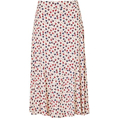 Collection WEEKEND by John Lewis Floral Midi Skirt, White/Multi