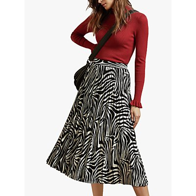 Ted Baker Viviynn Pleated Zebra Print Midi Skirt, Black