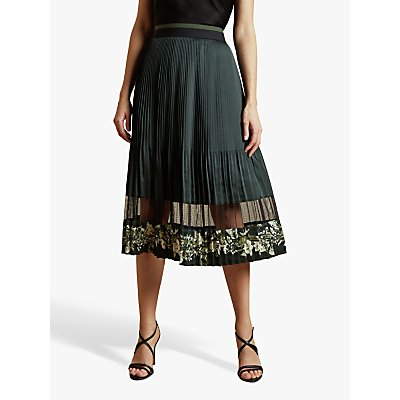 Ted Baker Boniiee Meadow Sweep Pleated Layered Midi Skirt, Khaki