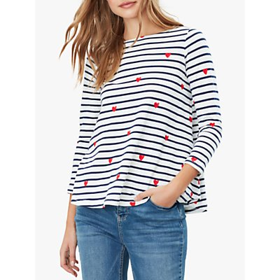 Joules Harbour Heart and Stripe Light Cotton Jersey Top, Multi