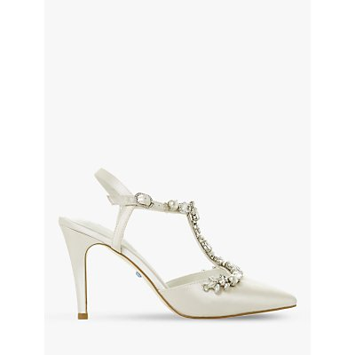 Dune Bridal Collection Corsage Embellished T-Bar Court Shoes, Ivory