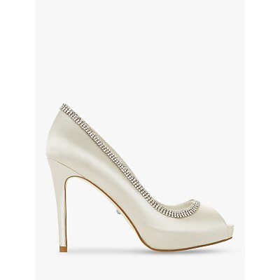 Dune Bridal Collection Charmed Embellished Satin Peep Toe Shoes, Ivory