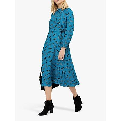 Monsoon Sadie Leopards Midi Dress, Blue