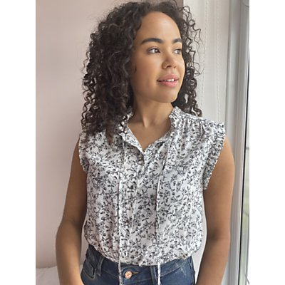 AND/OR Brooke Floral Sleeveless Blouse, White/Black