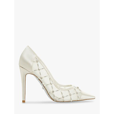 Dune Ballgown Satin Heel Court Shoes, Ivory