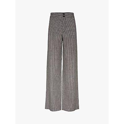 Gerard Darel Mimma Wide Leg Check Linen Trousers, Black