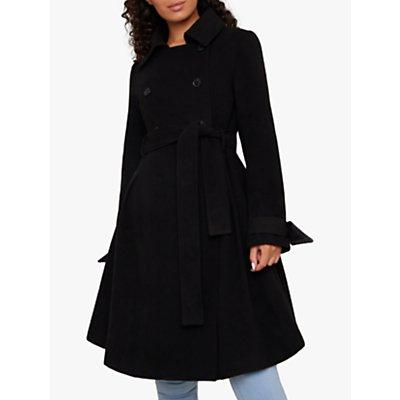 Chi Chi London Safia Double Breasted Flared Coat, Black