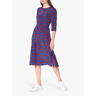 L.K.Bennett Alicia Silk Tea Dress, Poppy