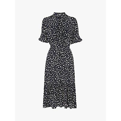 L.K.Bennett Mia Bow Print Silk Dress, Navy/Cream