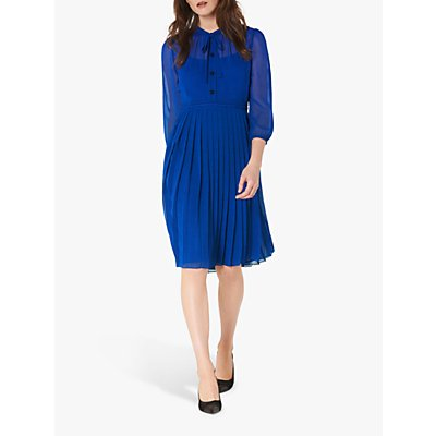L.K.Bennett Marlow Pleat Spot Print Dress, Blue