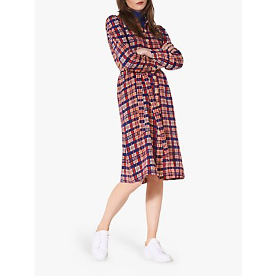 L.K.Bennett Evelyn Check Print Silk Shirt Dress, Blue/Multi