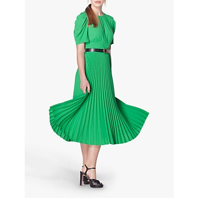 L.K.Bennett Avalon Crepe Pleated Dress, Bright Green