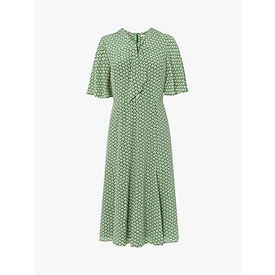 L.K.Bennett Piaf Block Print Silk Dress, Green