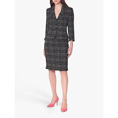 L.K.Bennett Italy Tweed Pencil Skirt, Black/Navy