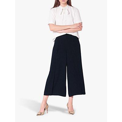 L.K.Bennett Klee Micro Spot Print Wide Leg Trousers, Navy/Cream