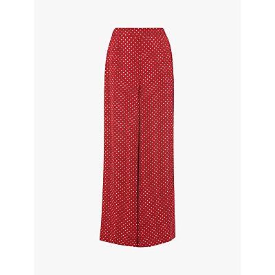 L.K.Bennett Zazou Polka Dot Print Wide Leg Trousers, Red/Multi
