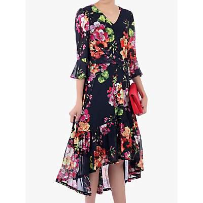 Jolie Moi Floral High Low Mesh Midi Dress, Navy
