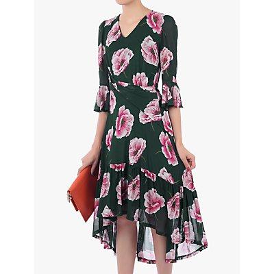 Jolie Moi Floral High Low Mesh Midi Dress, Teal