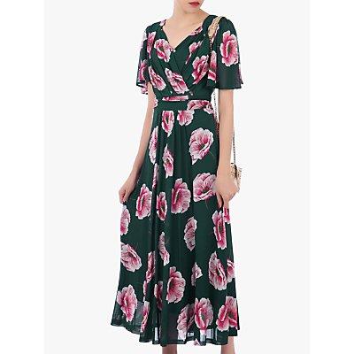 Jolie Moi Floral Print Mesh Maxi Dress, Teal/Multi