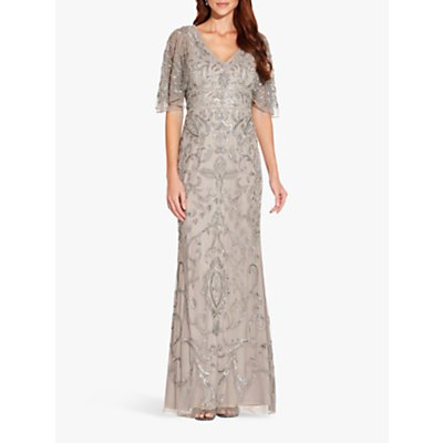 Adrianna Papell Beaded Mermaid Dress, Platinum