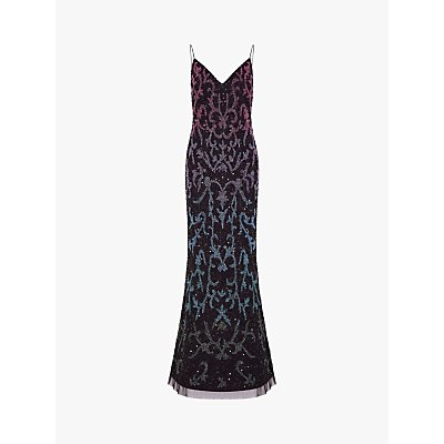 Adrianna Papell Beaded Mermaid Gown, Black/Multi