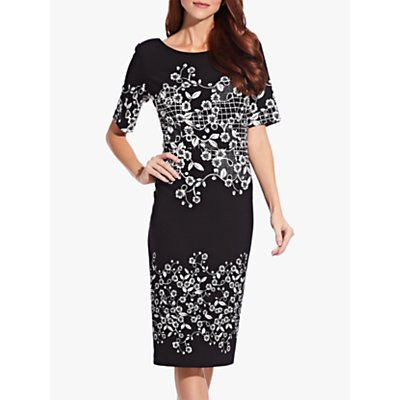 Adrianna Papell Blooming Trellis Shift Dress, Black/White
