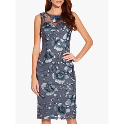 Adrianna Papell Floral Sequin Embellishment Dress, Dusty Blue