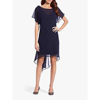 Adrianna Papell Chiffon Overlay Draped Dress, Navy
