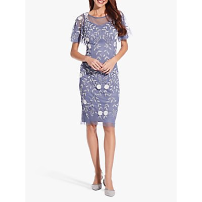 Adrianna Papell Beaded Flutter Sleeve Dress, Cool Wisteria