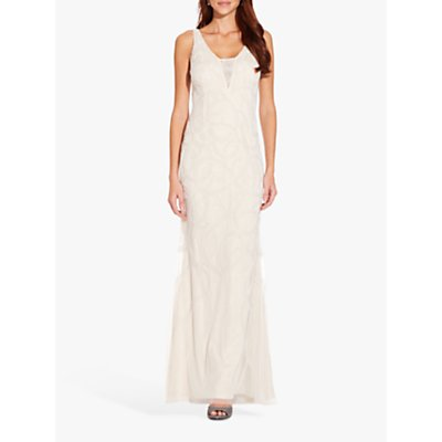 Adrianna Papell Beaded V Neck Sleeveless Gown, Ivory/Pearl