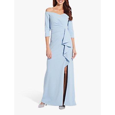 Adrianna Papell Off Shoulder Crepe Dress, Blue Mist