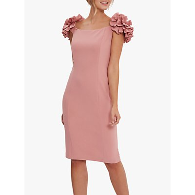 Gina Bacconi Bretta Ruffle Detail Crepe Jersey Dress, Winter Pink