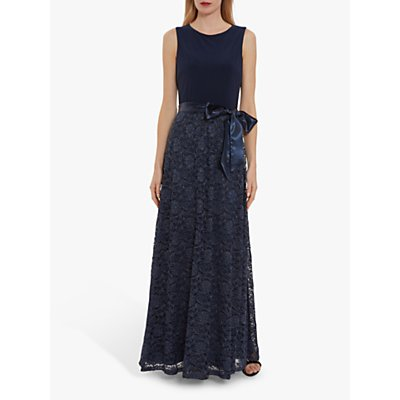 Gina Bacconi Marge Jersey Lace Maxi Dress, Spring Navy