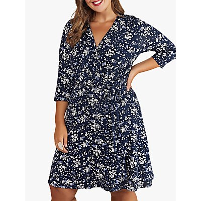 Yumi Curves Ditsy Floral Wrap Dress, Navy