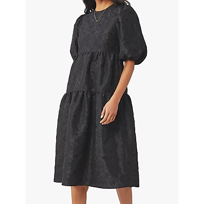 Ghost Aletta Embroidered Midi Dress, Black