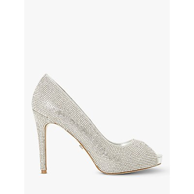 Dune Date Night Embellished Peep Toe Court Shoes, Silver