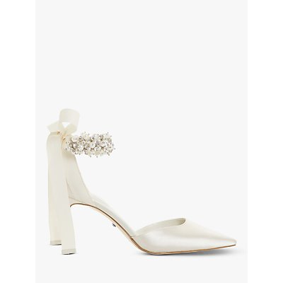 Dune Clarette Embellished Ankle Strap Court Shoes, Ivory