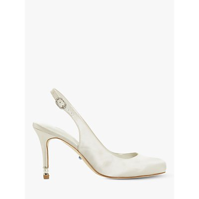 Dune Debby Round Toe Sling Back Court Shoes, Ivory