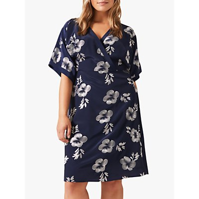 Studio 8 Lucinda Floral Embroidery Flared Dress, Navy/Silver