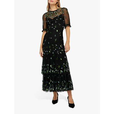 Monsoon Lisbet Floral Embroidery Tiered Midi Dress, Black/Multi