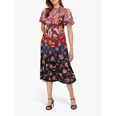 Monsoon Laura Printed Satin Tea Midi Dress, Multi