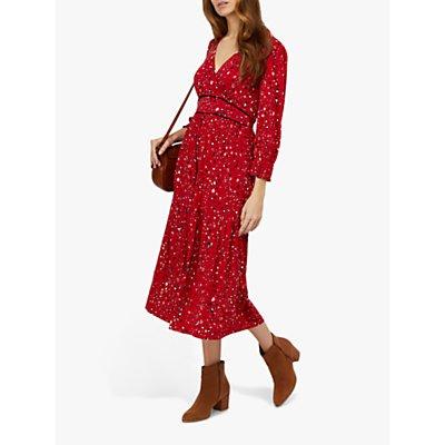 Monsoon Star Print Midi Dress, Red